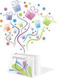 Kleurrijke giften van pakket, vectorillustratie — Stockvector