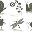 Stockvektor : Isolated icons of insects, vector illustration