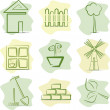 Countryside (icons), vector illustration — Stock Vector