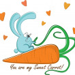 "Cтоковый вектор: Postcard ""Rabbit and his sweet carrot"", vector illustration"