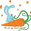 "Postcard ""Rabbit and his sweet carrot"", vector illustration — Vector de stock"