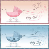 赤ちゃんベビーカー、ベクトル イラスト — ストックベクタ