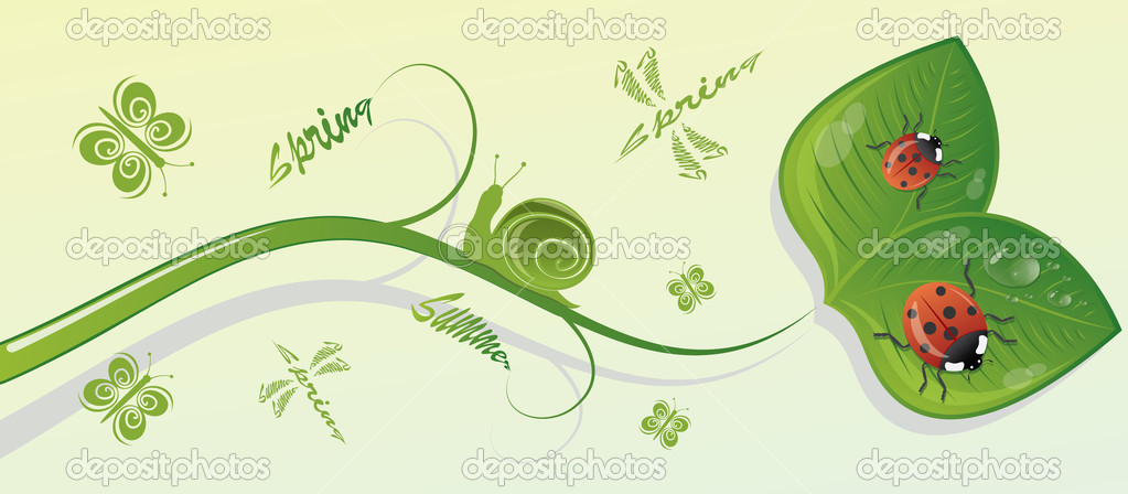 Green branch with leaves and insects, vector illustration — Stock Vector #6252094