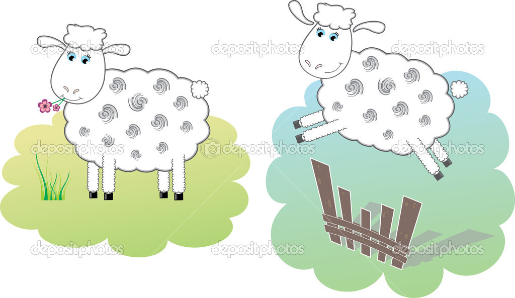 Sheep on the meadow and jumping sheep. Vector Illustration. — Stock Vector #6252141