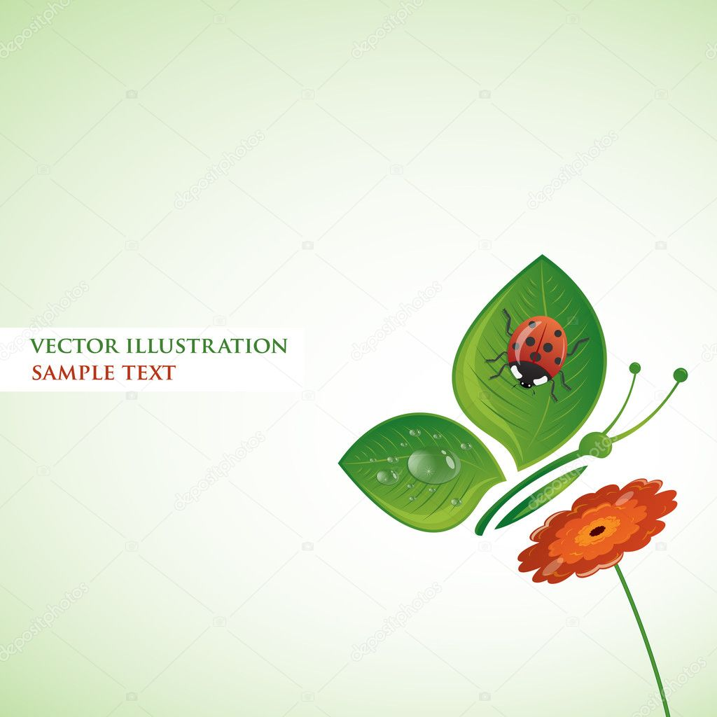 Butterfly-leaf wirh ladybug on the flower. Vector illustration.  Stock Vector #6294582