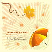 Kötü hava, vektör çizim için iyi şemsiye — Stok Vektör