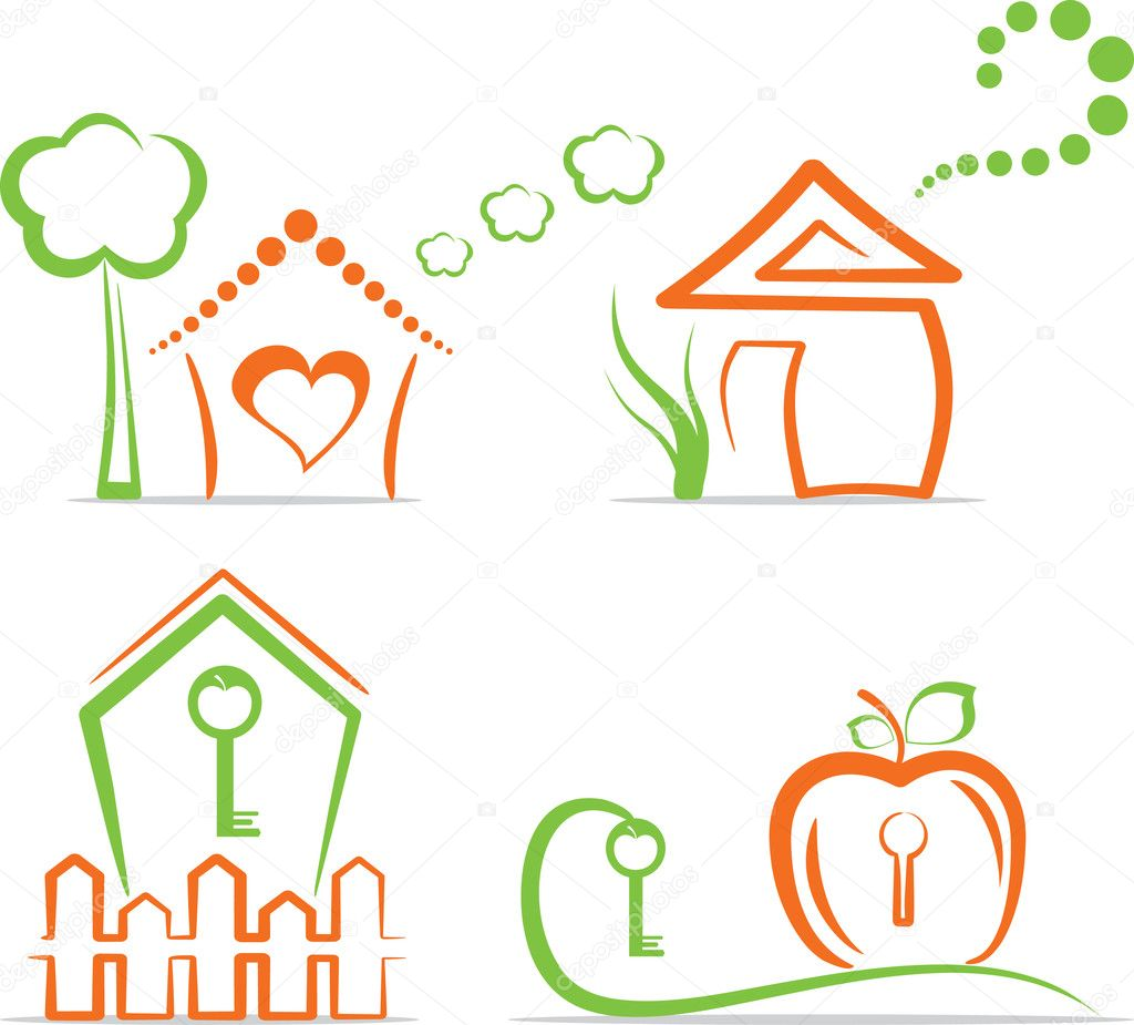 Home (simple icons in two colors). Vector Illustration. — Stock Vector #6398300