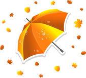 Open gestreepte paraplu en bladeren, vectorillustratie — Stockvector