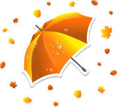 Open striped umbrella and leaves, vector illustration — Vecteur