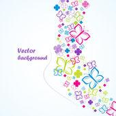 Bloemen en vlinders (achtergrond), vector illustratie — Stockvector