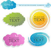 Four elements (stickers), vector illustration — Vettoriale Stock