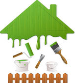 Green roof and painting tools, vector illustration — Stok Vektör