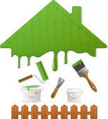 Techo verde y herramientas de pintura, ilustración vectorial — Vector de stock