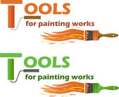 Tools for painting works, vector illustration — Stock Vector