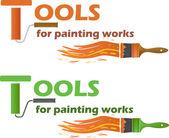 инструменты для живописи работает, векторные иллюстрации — Cтоковый вектор