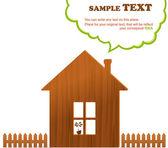 Casa in legno, recinzione e cloud, illustrazione vettoriale — Vettoriale Stock
