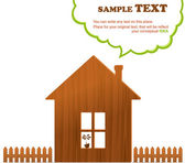 Trä hem, staket och moln, vektor illustration — Stockvektor