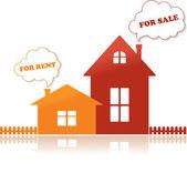 Casas en venta y alquiler, ilustración vectorial — Vector de stock