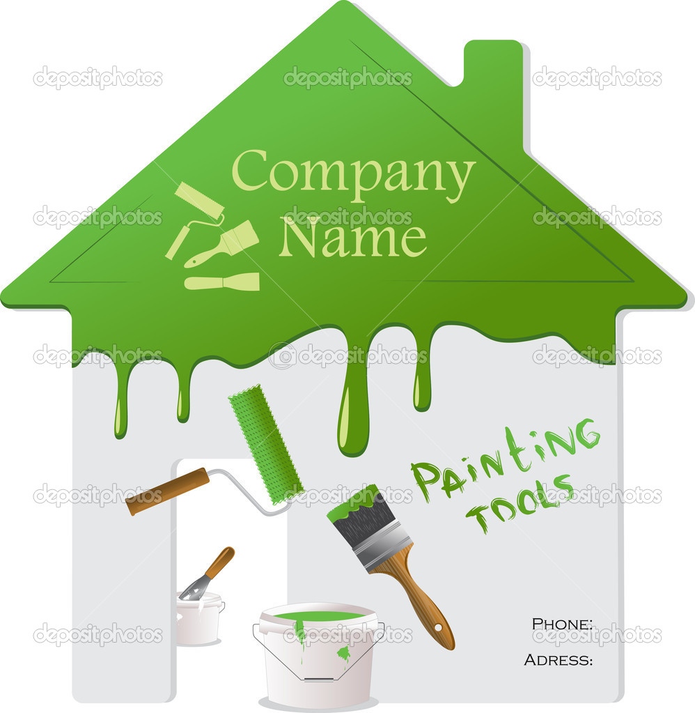 Green roof, wall and painting tools. Vector Illustration.  Stock Vector #6499519