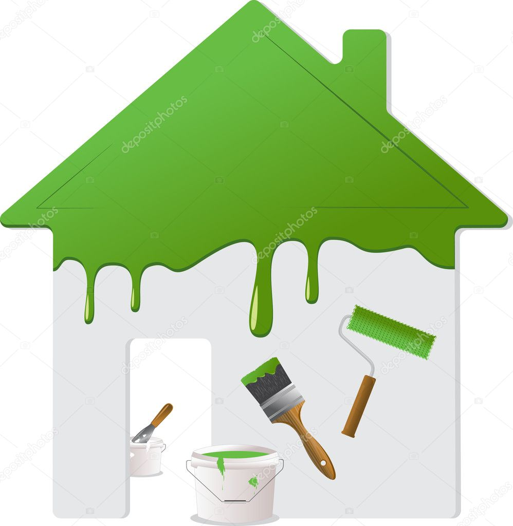 Green roof, wall and painting tools. Vector Illustration. — Stock Vector #6499549