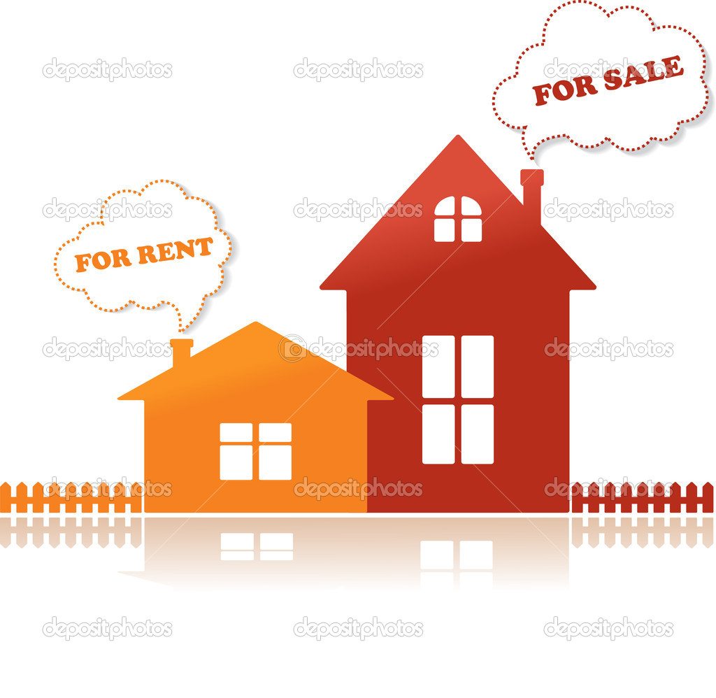 Orange house for rent and red house for sale. Vector Illustration. — Stock Vector #6499625