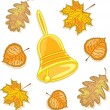 Vecteur: Bell and autumn leaves, vector illustration