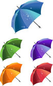 Set of colorful umbrellas, vector illustration — Vector de stock
