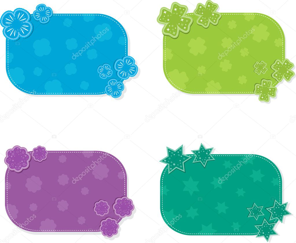 Set of four colorful cards for text. Vector Illustration. — Stock Vector #6549573