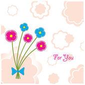"Postal ""cinco flores de plastilina"" — Vector de stock"