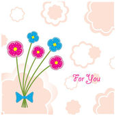 "Postcard ""Five plasticine flowers"" — Stockvector"