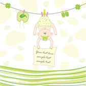 Baby on the rope for drying, vector illustration — Vector de stock