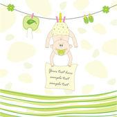 Bambino sulla corda per l'asciugatura, vettoriale illustrazione — Vettoriale Stock