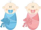 Dos bebé en pañales con chupetes, ilustración vectorial — Vector de stock