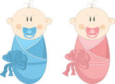 Two baby in diapers with pacifiers, vector illustration — Vector de stock