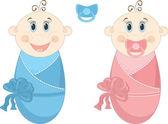 два счастливый ребенок в пеленках, векторные иллюстрации — Cтоковый вектор
