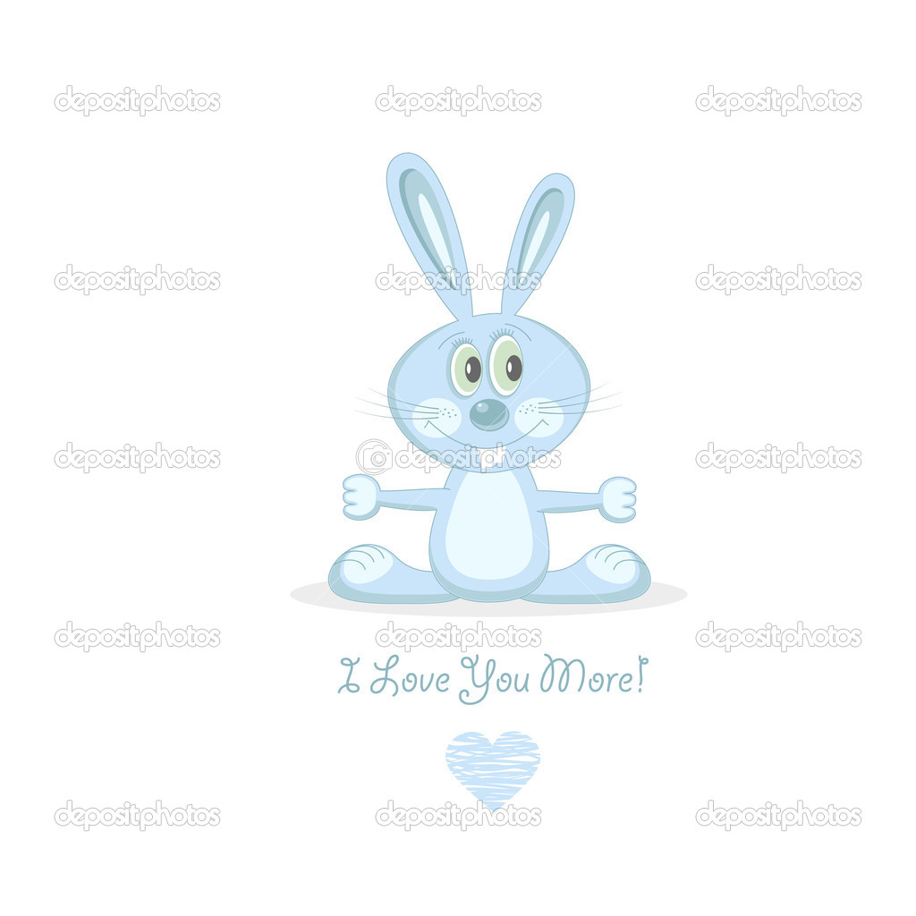 Cute blue love rabbit. Vector Illustration. — Stockvektor #6632651