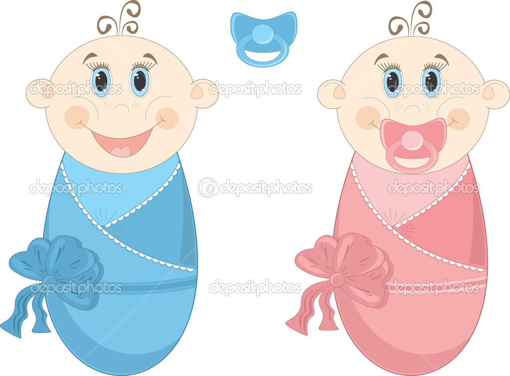 Two happy baby in diapers with big blue eyes. Vector Illustration. — Stock Vector #6636999