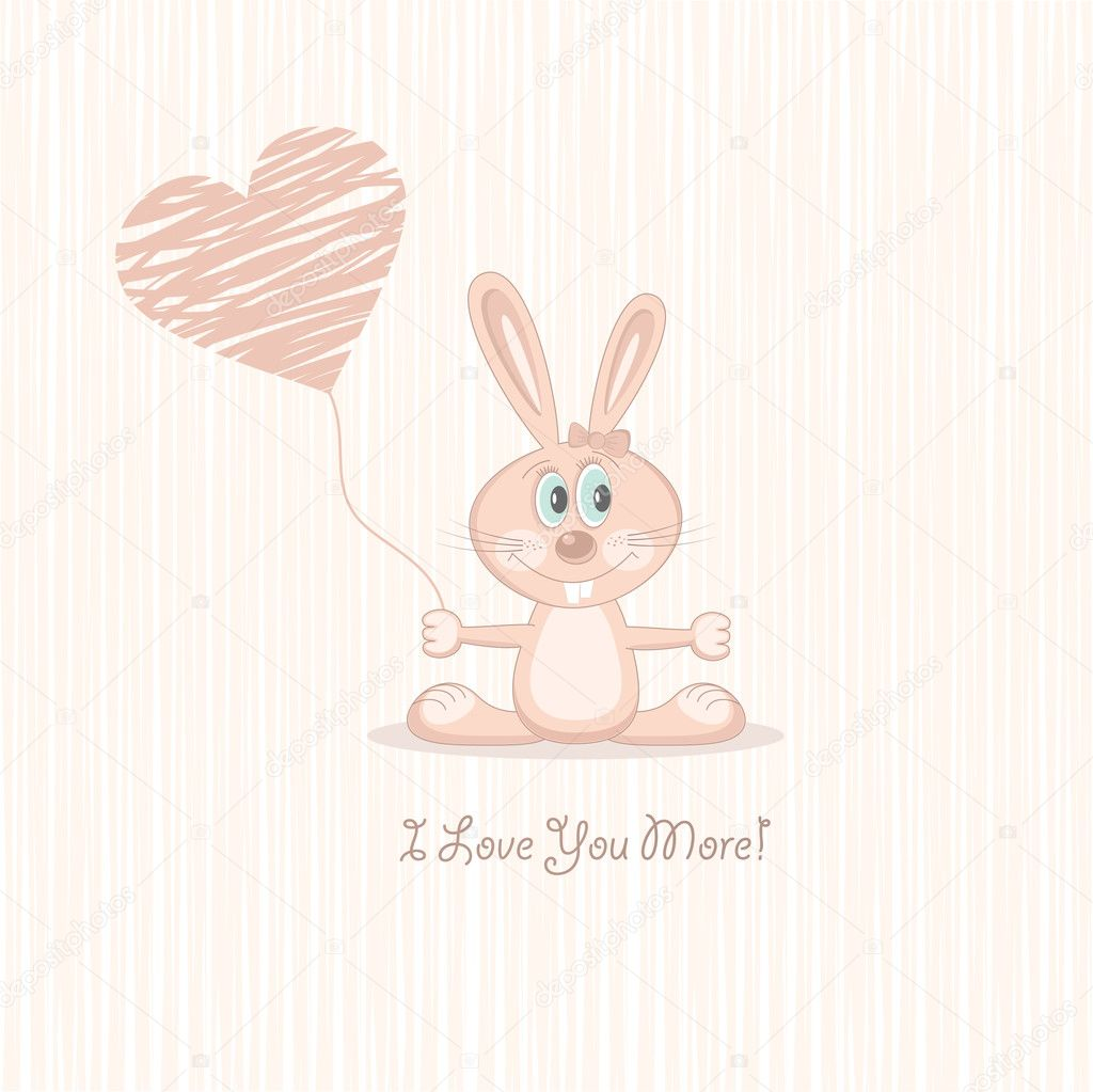 Postcard Cute pink love rabbit with heart. Vector Illustration.  Stock Vector #6640148