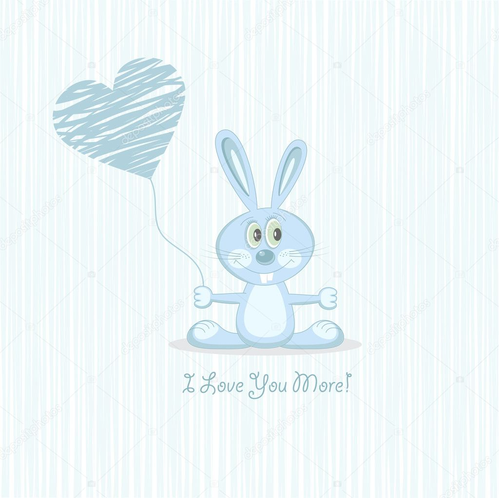 Postcard Cute blue love rabbit with heart. Vector Illustration. — Stock Vector #6640160