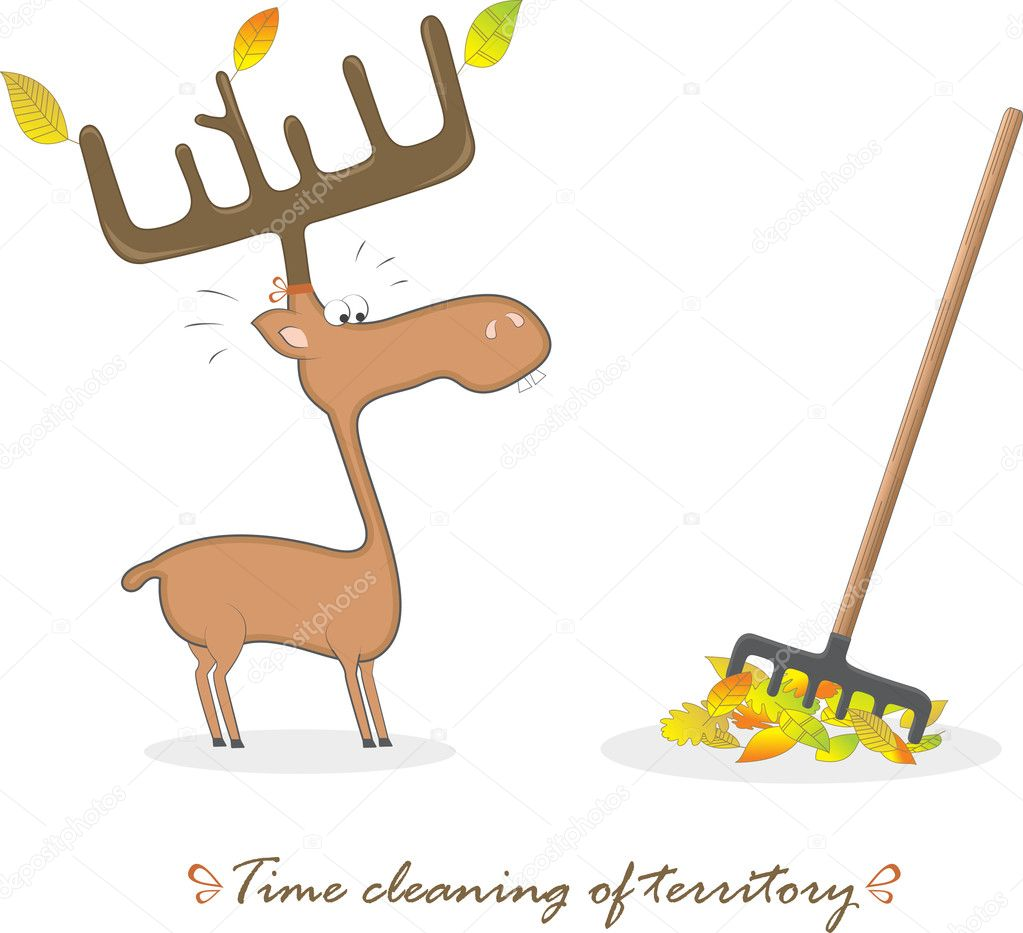 Funny elk and a rake. Vector Illustration. — Stock Vector #6701205