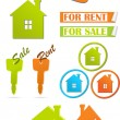 Stockvektor : Icons and stickers for real estate, vector illustration