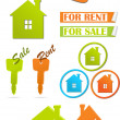 Wektor stockowy : Icons and stickers for real estate, vector illustration