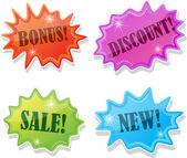 Adesivi per la vendita, illustrazione vettoriale — Vettoriale Stock