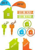 Iconos y pegatinas para bienes raíces, ilustración vectorial — Vector de stock