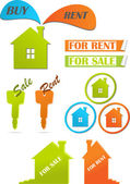 Icons and stickers for real estate, vector illustration — Vector de stock
