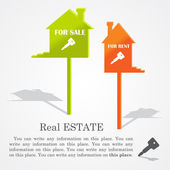 Signboards of homes (sale and rent), vector illustration — Vector de stock
