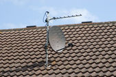 Satellite Dish on Roof — Stock Photo