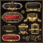 Vintage golden frame on black — Stock Vector