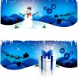 Blue Christmas headers - Stock Vector