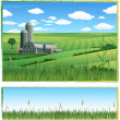 Stock Vector: Farm barn background